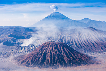active volcano: Bromo, Batok and Semeru volcanoes, Java island, Indonesia Stock Photo