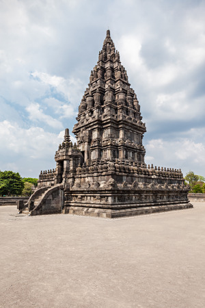 Prambanan or Candi Rara Jonggrang is a Hindu temple compound in Java, Indonesia, dedicated to the Trimurti: the Creator (Brahma), the  Preserver (Vishnu) and the Destroyer (Shiva). Stock Photo