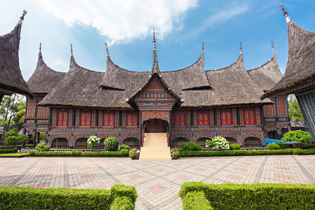 indonesia culture: West Sumatra pavilion in Taman Mini Indonesia Park.