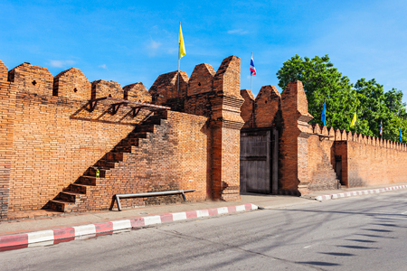 Tha Phae Gate of old city in Chiang Mai, Thailand 写真素材