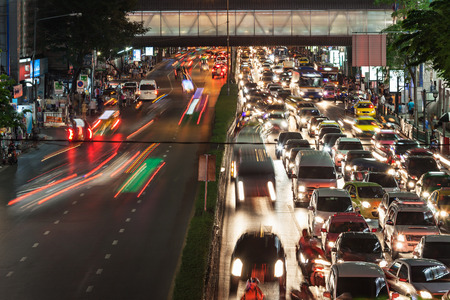 megalopolis: Traffic jam at the night street in megalopolis
