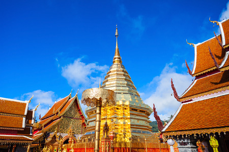 Wat Phra That Doi Suthep is a Theravada buddhist temple near Chiang Mai, Thailand