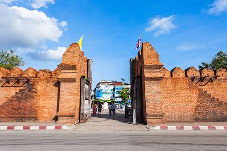 tha: Tha Phae Gate of old city in Chiang Mai, Thailand Editorial