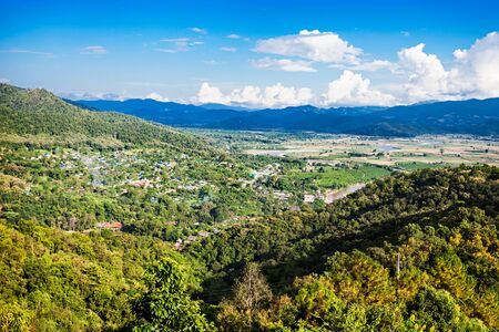 ton: Tha Ton city aerial view, Chiang Mai Province, nothern Thailand Stock Photo