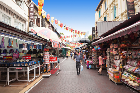 SINGAPORE - OCTOBER 16, 2014: Singapore Chinatown is an ethnic neighbourhood featuring distinctly Chinese cultural elements and a  concentrated ethnic Chinese population. Editorial