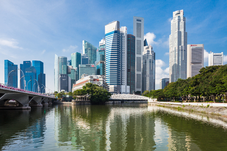 marina bay sand: SINGAPORE - OCTOBER 17, 2014: Singapore city skyline.
