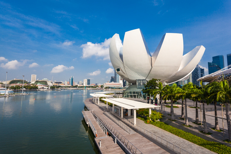 museums: SINGAPORE - OCTOBER 17, 2014: ArtScience Museum is one of the attractions at Marina Bay Sands, an integrated resort in Singapore.