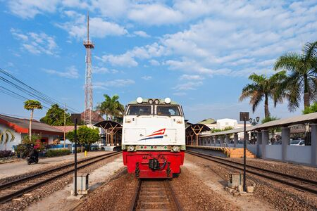 railway transports: YOGYAKARTA, INDONESIA - OCTOBER 24, 2014: Indonesian train near Yogyakarta train station.