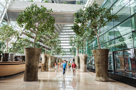 bay: SINGAPORE - OCTOBER 18, 2014: Marina Bay Sands Hotel interior.