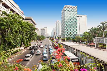 交通: ジャカルタ, インドネシア - 2014 年 10 月 19 日: ジャカルタ上空。