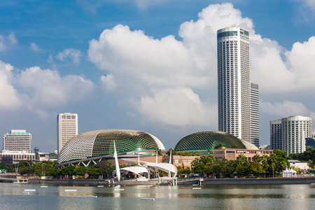 architectural exterior: SINGAPORE - OCTOBER 17, 2014:  Esplanade – Theatres on the Bay is a performing arts center located in Marina Bay near the mouth of the  Singapore River.