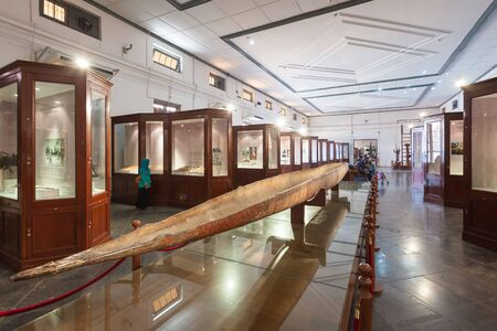 geographical: JAKARTA, INDONESIA - OCTOBER 19, 2014: Inside The National Museum of Indonesia. It is an archeological, historical, ethnological, and  geographical museum.