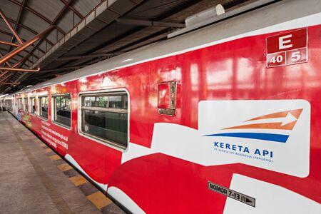 railroad station platform: YOGYAKARTA, INDONESIA - OCTOBER 24, 2014: Indonesian train near Yogyakarta train station.