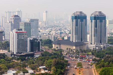 jakarta: JAKARTA, INDONESIA - OCTOBER 21, 2014: Jakarta aerial view from Monas. Editorial