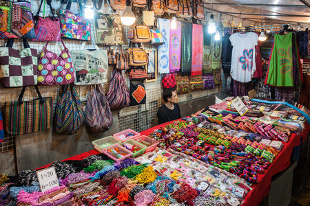 good night: CHIANG RAI, THAILAND - NOVEMBER 05, 2014: Textile shop in Chiang Rai Night Market. Editorial