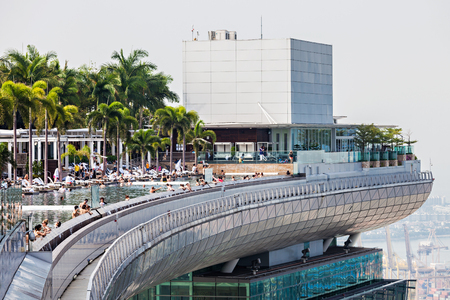 SINGAPORE - OCTOBER 18, 2014: A view of the Infinity Pool of the Skypark that tops the Marina Bay Sands Hotel.