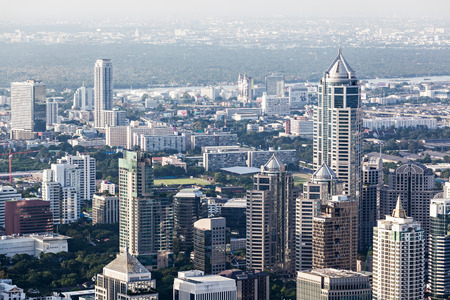 silom: BANGKOK, THAILAND - NOVEMBER 09, 2014: Bangkok panoramic view from Baiyoke Tower, Thailand
