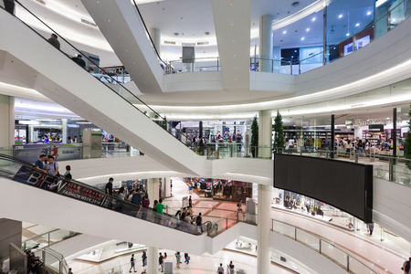paragon: BANGKOK, THAILAND - NOVEMBER 09, 2014: Siam Paragon is a shopping mall in Bangkok, Thailand. It is one of the biggest shopping centres in Asia.