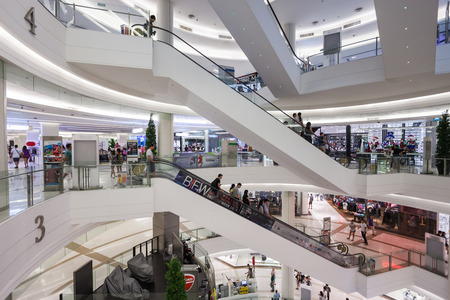 centres: BANGKOK, THAILAND - NOVEMBER 09, 2014: Siam Paragon is a shopping mall in Bangkok, Thailand. It is one of the biggest shopping centres in Asia.