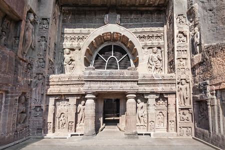 maharashtra: AURANGABAD, INDIA - FEBRUARY 19, 2014: Ajanta caves near Aurangabad, Maharashtra state in India.