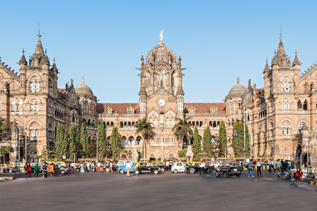 Chhatrapati Shivaji Terminus (CST) is een UNESCO World Heritage Site en een historische station in Mumbai, India Stockfoto - 53387883