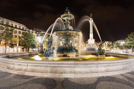 baixa: Rossio Square (Pedro IV Square) in the city of Lisbon, Portugal