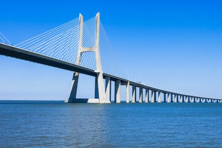 bridge: The Vasco da Gama Bridge in Lisbon, Portugal. It is the longest bridge in Europe Stock Photo