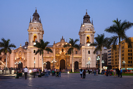 The Basilica Cathedral of Lima at sunset, it is a Roman Catholic cathedral located in the Plaza Mayor in Lima, Peru