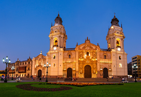 peru: The Basilica Cathedral of Lima at sunset, it is a Roman Catholic cathedral located in the Plaza Mayor in Lima, Peru