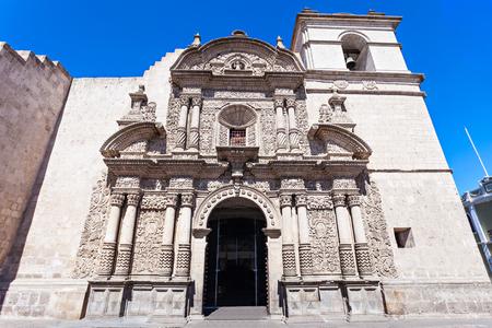 Jesuit Church of the Company of Jesus (Iglesia de la Compania) in Arequipa, Peru Stock Photo