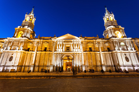 plaza de armas: The Basilica Cathedral of Arequipa is located in the Plaza de Armas, city of Arequipa, Peru