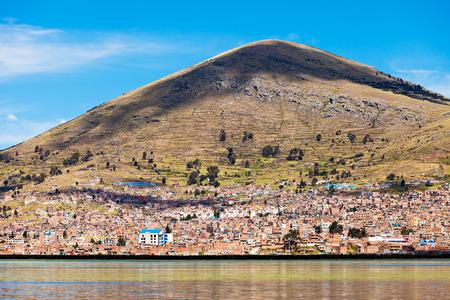 quechua: Puno panoramic view from Titicaca lake, Peru