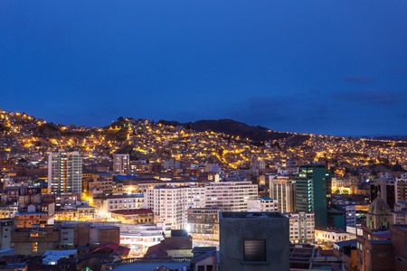 at the highest: La Paz aerial view at night. La Paz is the worlds highest capital.