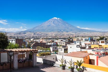 peru: Misti volcano from Yanahuara viewpoint in Arequipa, Peru Stock Photo