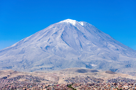 stratovolcano: Misti, also known as Putina is a stratovolcano located in Arequipa, Peru Stock Photo