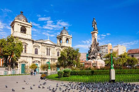murillo: The Metropolitan Cathedral is located on Plaza Murillo Square, La Paz city, Bolivia