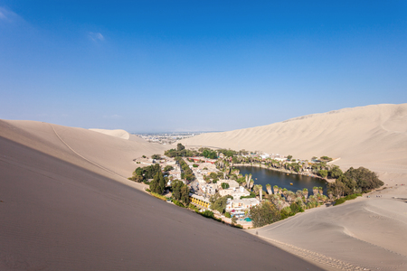 oasis: Huacachina oasis in the Ica Region, Peru Stock Photo