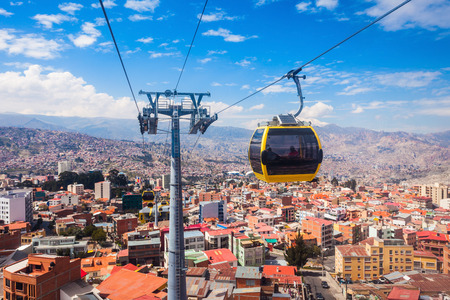 cableway: Mi Teleferico is an aerial cable car urban transit system in the city of La Paz, Bolivia. Stock Photo