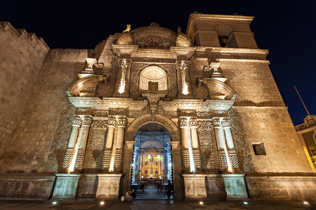 iglesia de la compania: Jesuit Church of the Company of Jesus (Iglesia de la Compania) in Arequipa, Peru Stock Photo