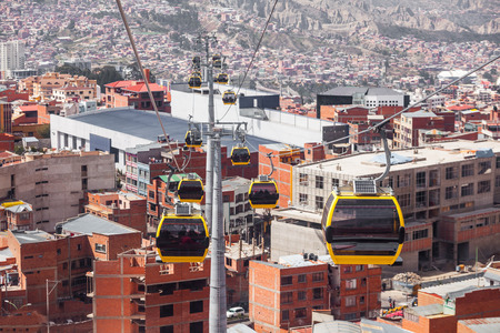 mi: Mi Teleferico is an aerial cable car urban transit system in the city of La Paz, Bolivia. Stock Photo