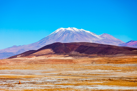 volcan: Ollague stratovolcano in the Andes, on the border between Bolivia and Chile. Stock Photo
