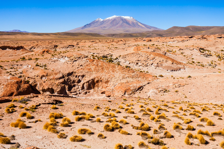 stratovolcano: Ollague volcano, view from the east, the Bolivian side. Stock Photo