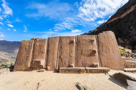 incan: Ollantaytambo Wall of the Six Monoliths (Sun Temple) in Ollantaytambo, Peru. Stock Photo