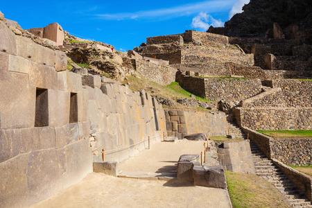 incan: Ollantaytambo Inca ruins in Ollantaytambo town, Peru.