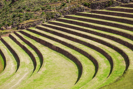 pisac: Inca terraces in Pisac. It is a Peruvian village in the Sacred Valley.