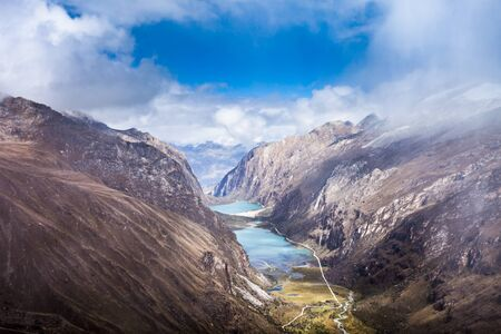 cordillera: The Llanganuco Lakes: Chinanqucha and Urqunqucha aerial view. They are situated in the Cordillera Blanca in the Andes of Peru.