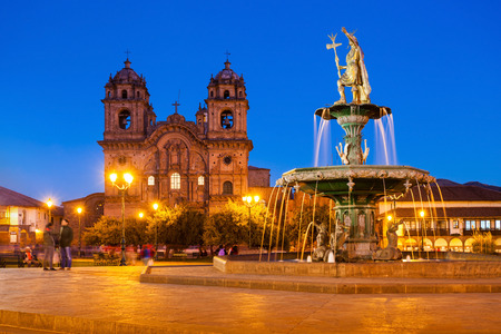 Plaza de Armas at sunset. It is a central square in Cusco, Peru.