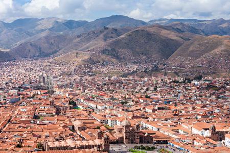 cusco: Cusco aerial view from Saqsaywaman in Cusco, Peru