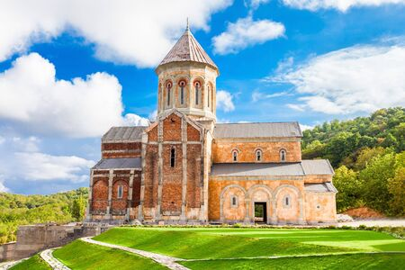 monastic: Saint Nino Bodbe Monastery is a Georgian Orthodox monastic complex and the seat of the Bishops of Bodbe near Sighnaghi, Georgia. Stock Photo