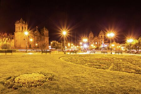 plaza de armas: Plaza de Armas at night. It is a central square in Cusco, Peru.